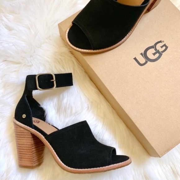 98184105c1e UGG Black Suede Ankle Strap Peep Toe Sandals NWT